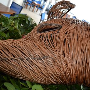 wicker pig on cruise ship